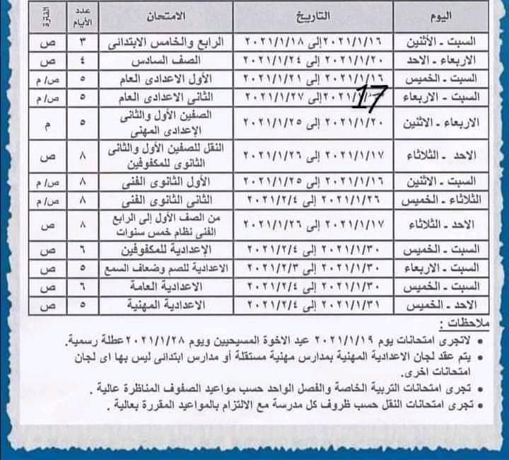 جدول امتحانات محافظة الأسكندرية