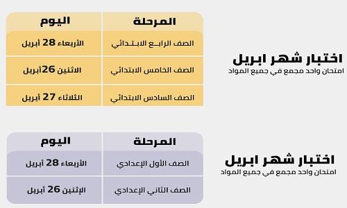 جدول امتحانات شهر ابريل 2021