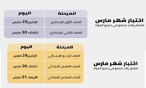 جدول امتحانات شهر مارس 2021
